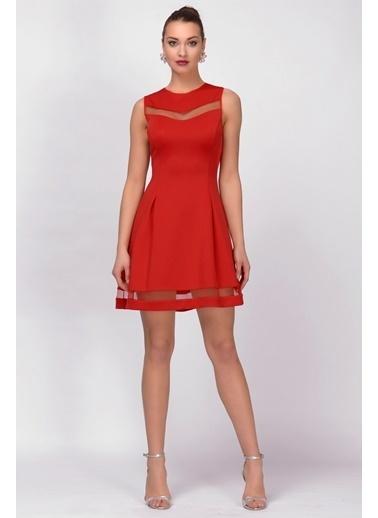 İroni Tül Pencereli Dalgıç Elbise Kırmızı